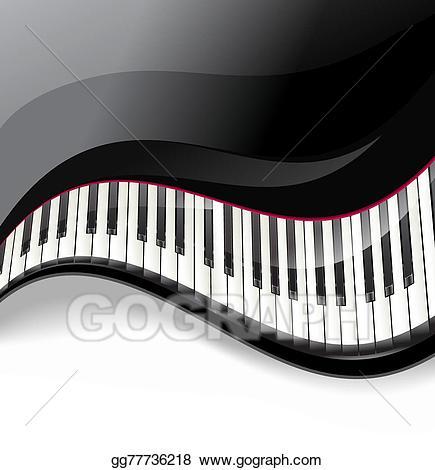 Eps illustration grand keys. Piano clipart swirl