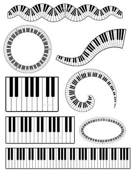 Music clip art keyboard. Piano clipart swirl