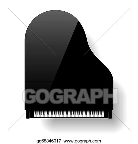 Piano clipart top view. Eps illustration black grand