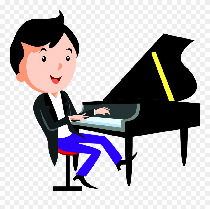 Child playing the dibujo. Piano clipart cartoon play