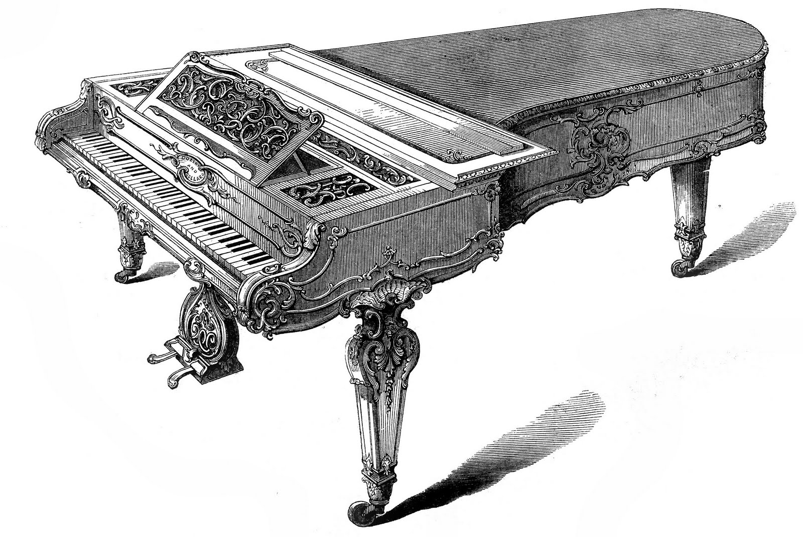 Victorian clip art grand. Piano clipart vintage piano
