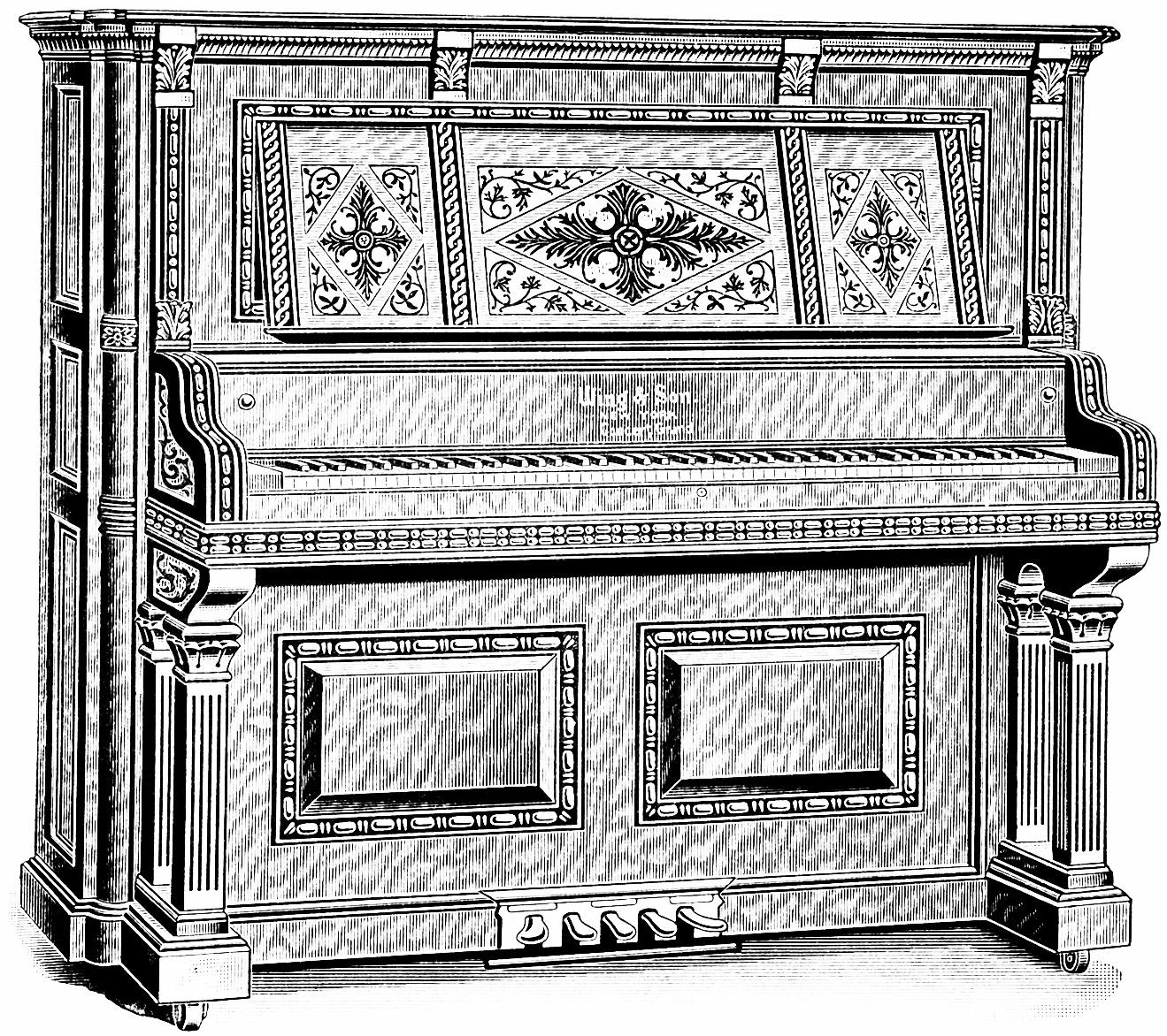 Piano clipart vintage piano. Old design shop blog
