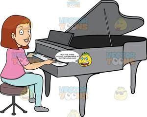 A smiles while playing. Piano clipart woman
