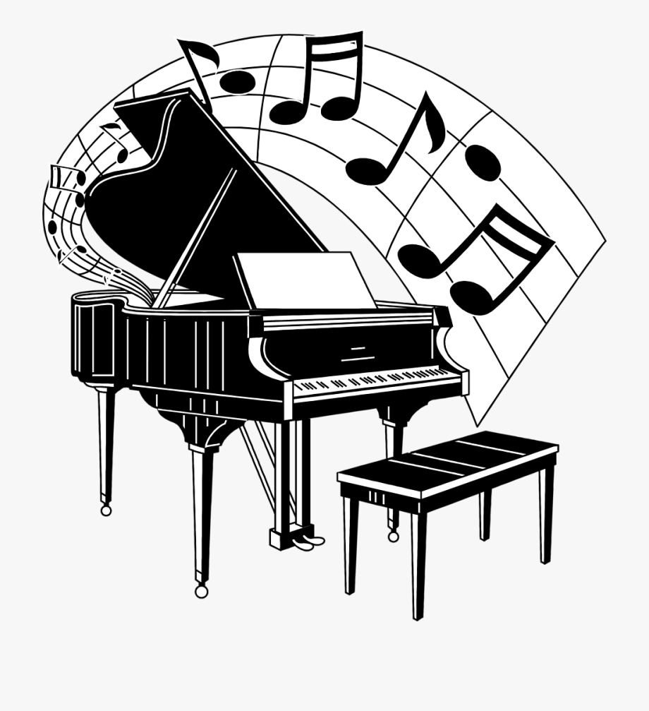 Mirror with music notes. Piano clipart musical notation