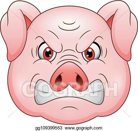 Pig clipart angry. Vector art head cartoon
