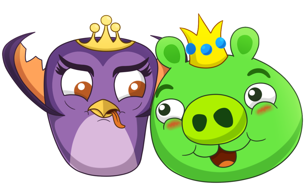 Pigs clipart angry bird. King and princess by