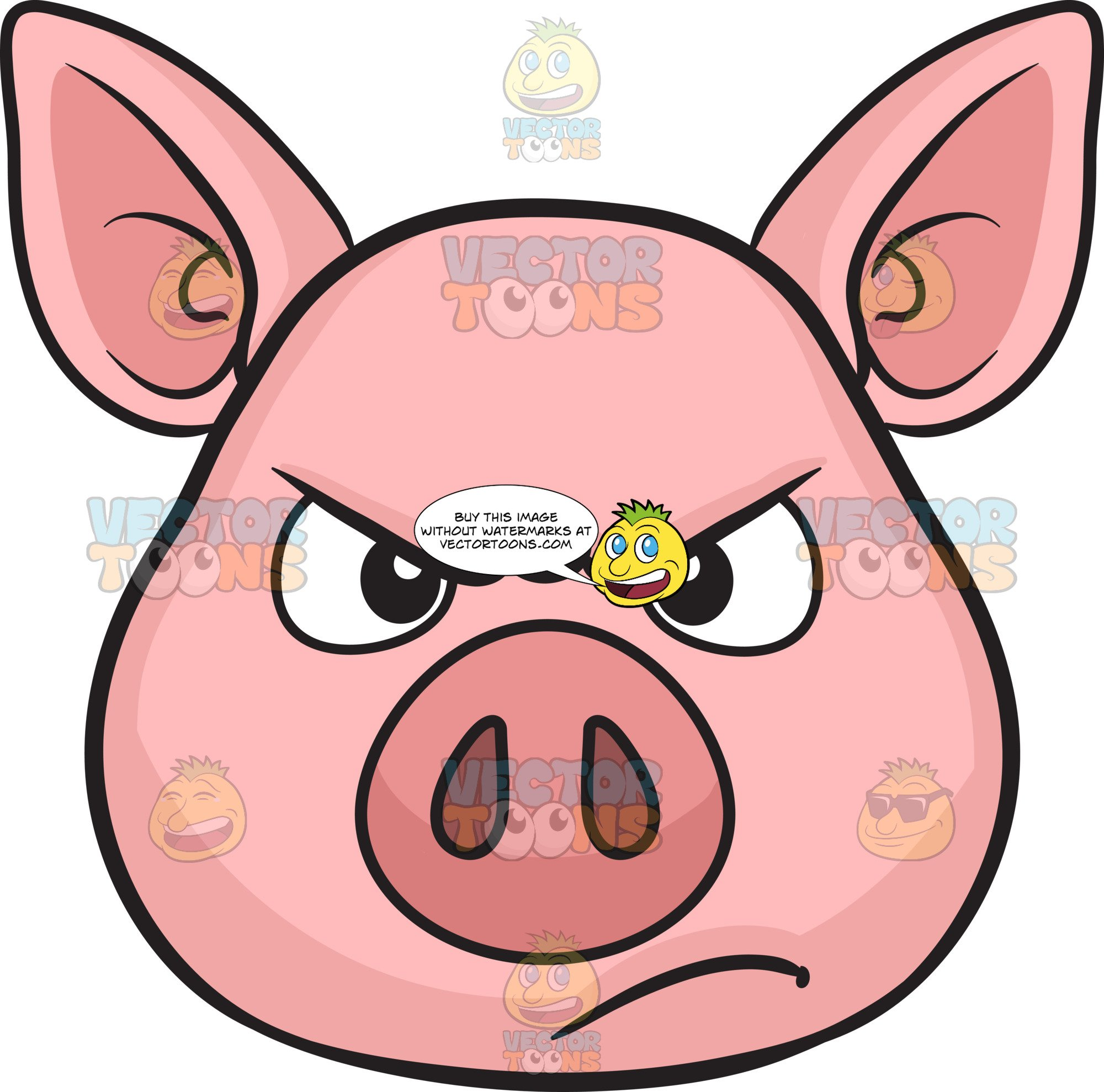 Pig clipart angry. A disappointed and looking