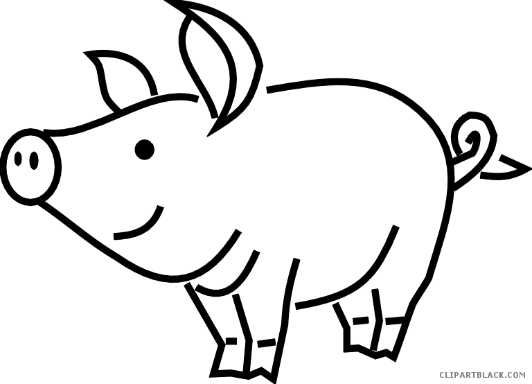 Outline page of clipartblack. Pig clipart mud