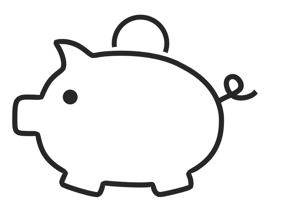 Clipart pig bank. Black and white piggy