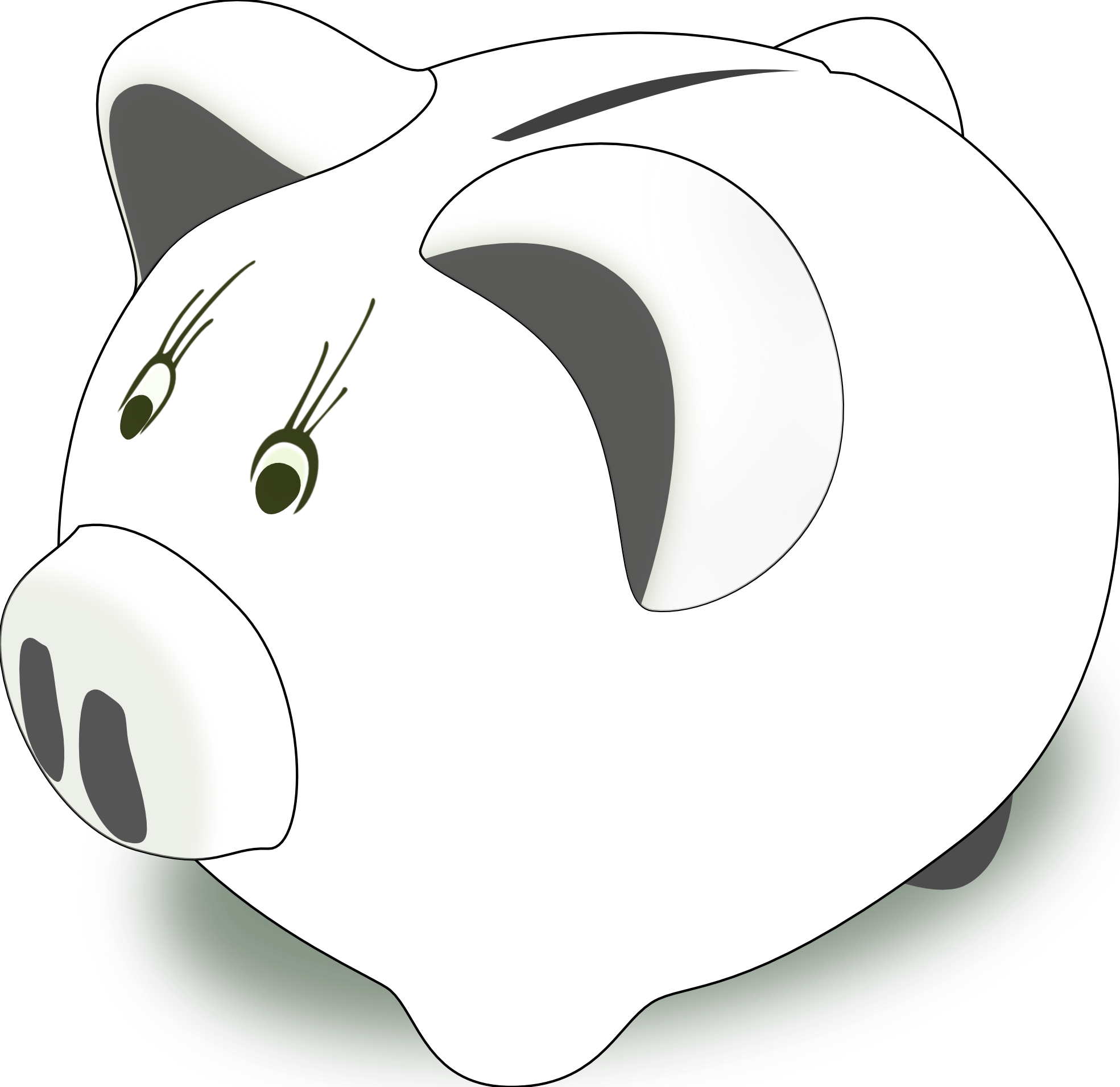 Clipart pig bank. Piggy black and white