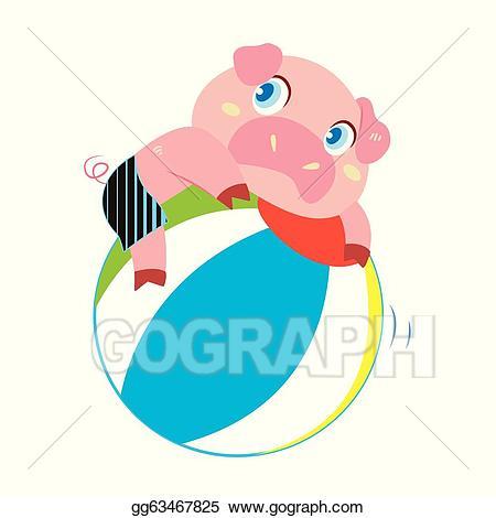 Eps vector a s. Clipart pig beach