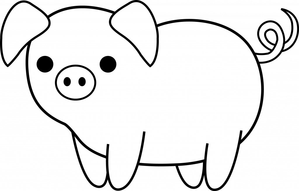 Clipart pig black and white. Unique simple drawing cute