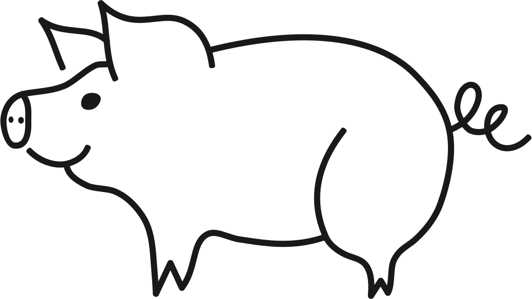 Clipart pig black and white. Big image png
