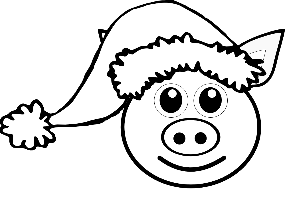 Face pink with santa. Clipart pig black and white