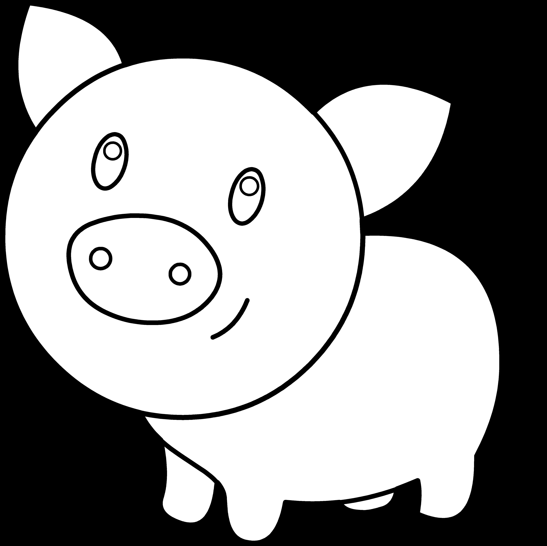 Outline clipartblack com animal. Clipart pig black and white
