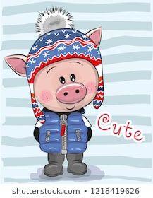 Clipart pig boy. Cute cartoon in a
