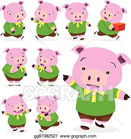 Vector art cute collection. Clipart pig boy