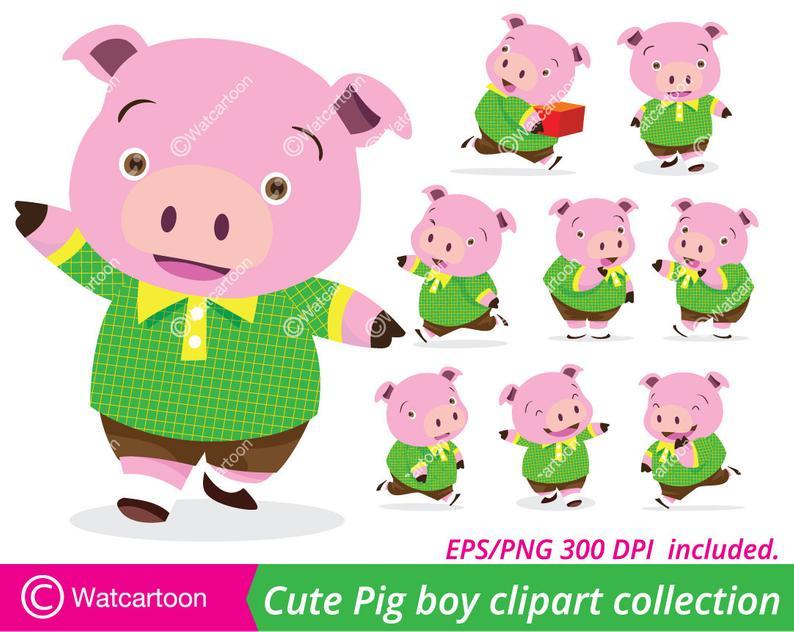 Clipart pig boy. Cute collection vector clip