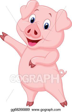 Pig clipart animated. Vector art cute cartoon