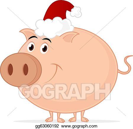 Pig clipart christmas. Eps illustration vector gg