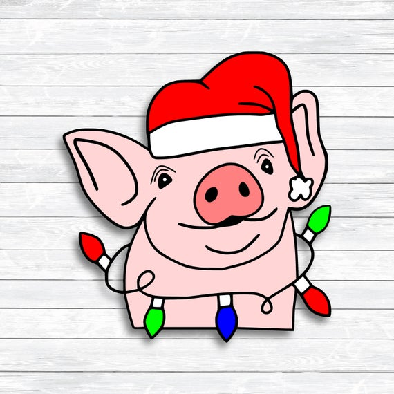 Pig clipart christmas. Svg santa dxf png