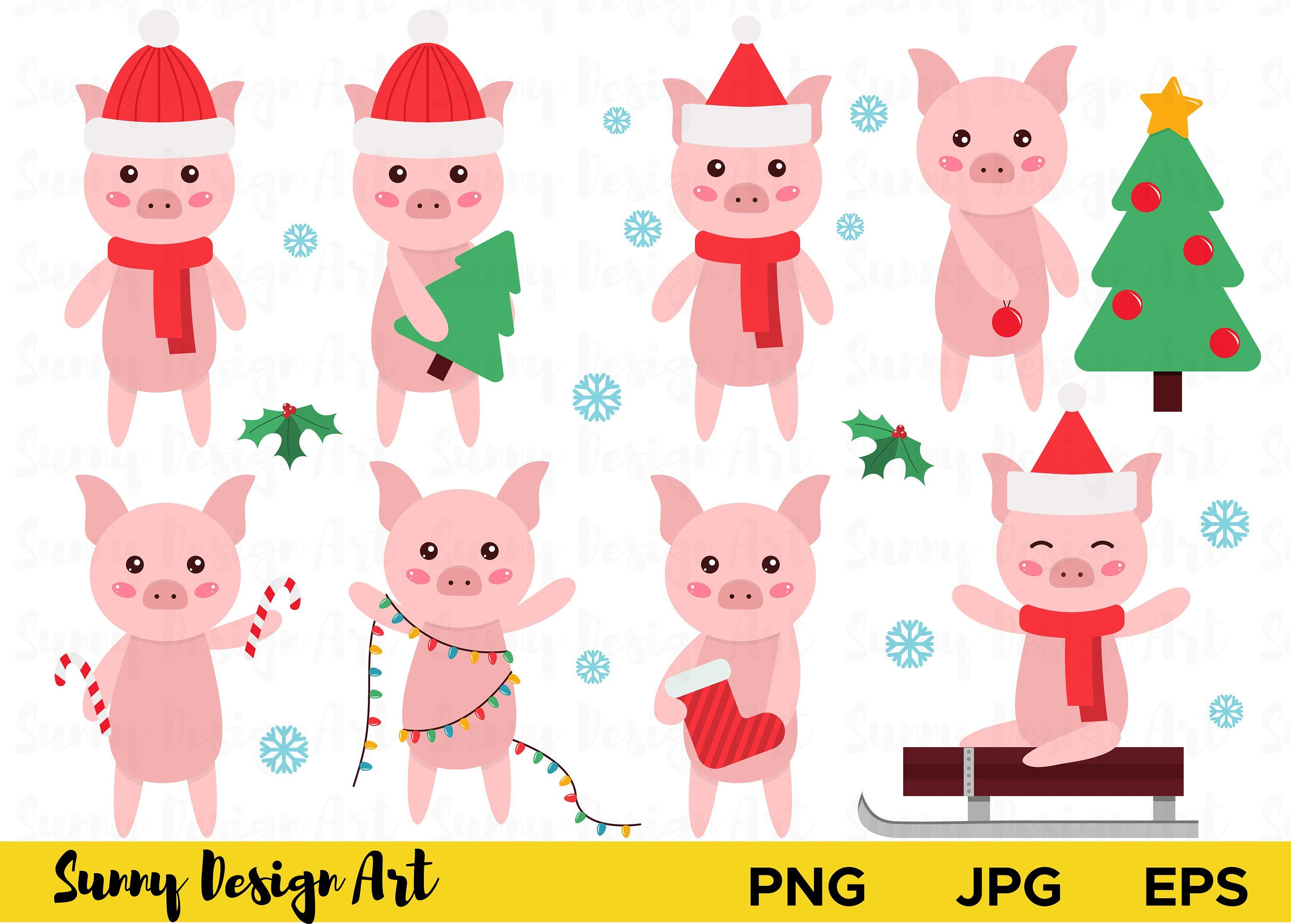 Cute pigs new year. Pig clipart christmas