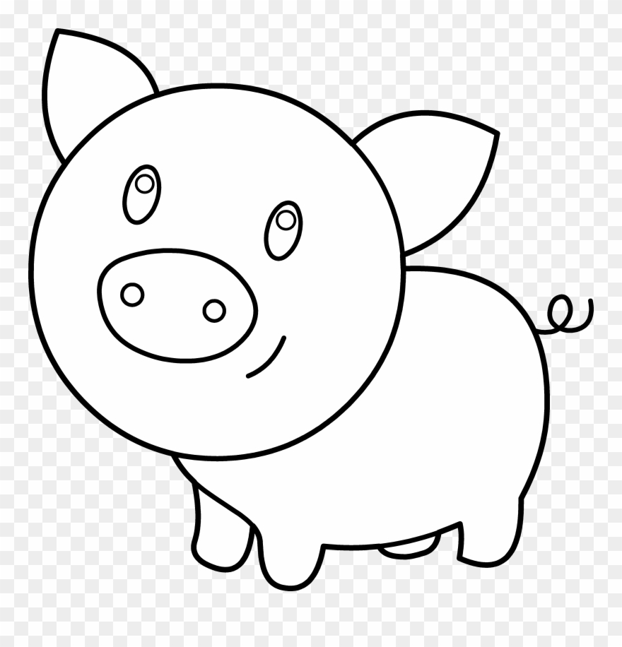 Clipart pig color. Baby coloring printable black