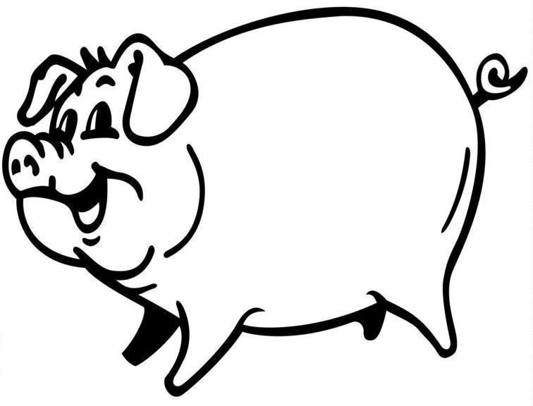 Free line art download. Clipart pig color