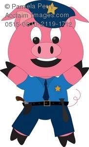 Clip art illustration of. Pig clipart cop