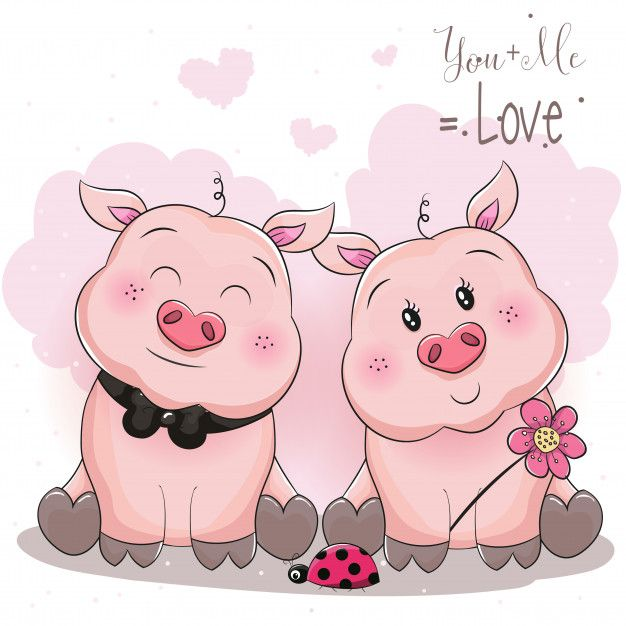 Clipart pig couple. Cute piggy with flower