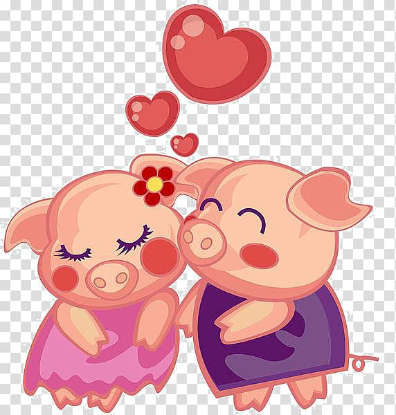 Pig clipart couple. Two pigs domestic porky