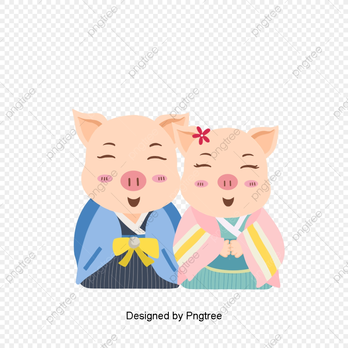 Cute of pigs design. Pig clipart couple