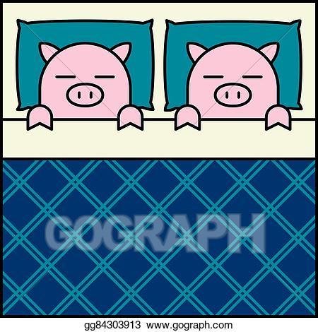 Vector sleeping illustration . Clipart pig couple