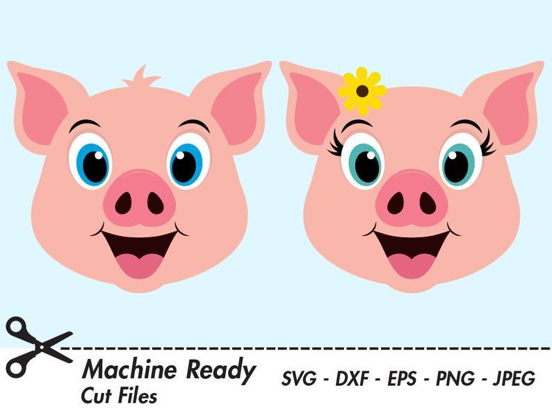 Cute svg files pigs. Clipart pig cut