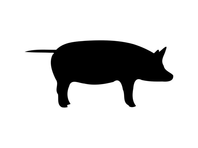 Clipart pig cut. Animal svg silhouette cutting