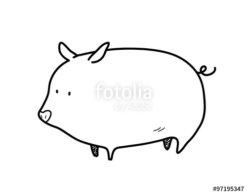 Clipart pig doodle. A hand drawn vector