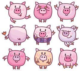 Clipart pig doodle. Vector cute pigs cartoons