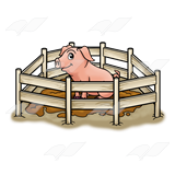 Clipart pig fence. In muddy pen