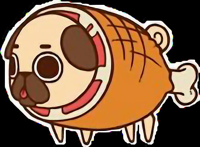 Clipart pig food. Cute kawaii pug chibi