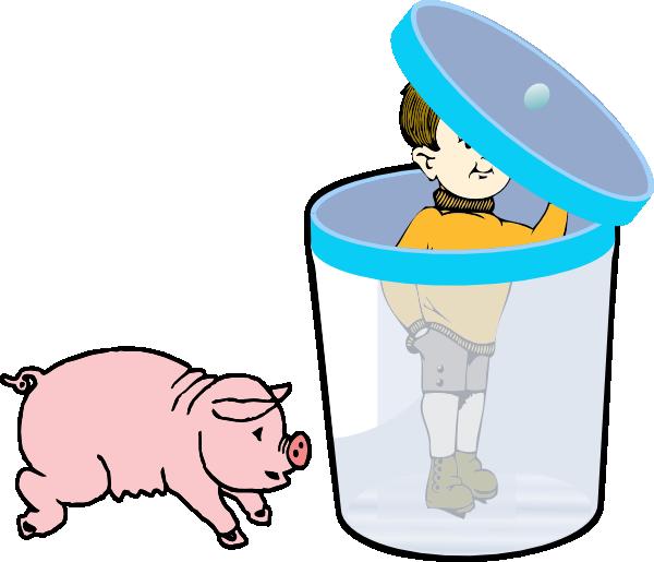 Boy in a bin. Clipart pig kid