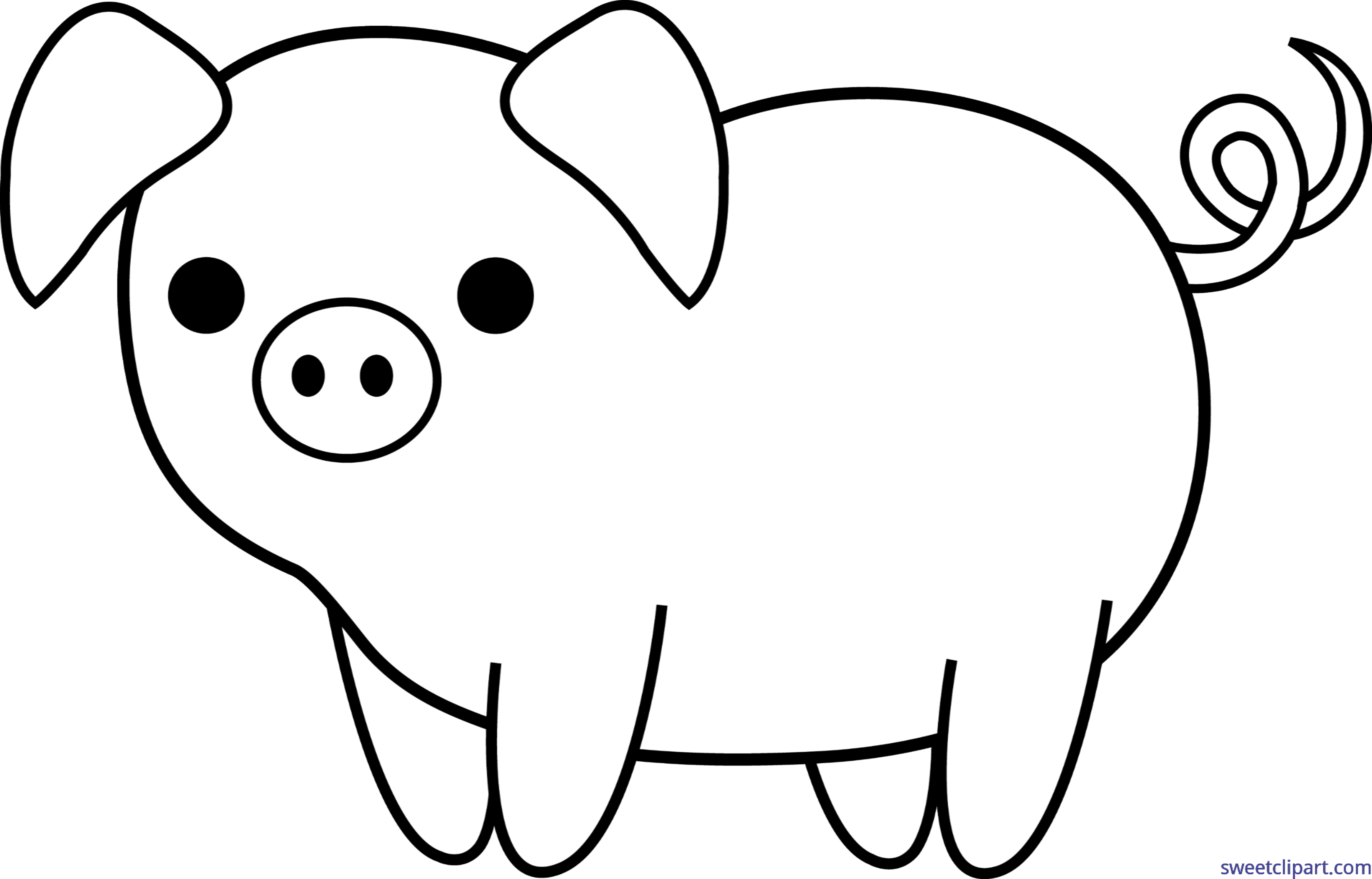 Pig clipart female pig. Piglet cute lineart clip