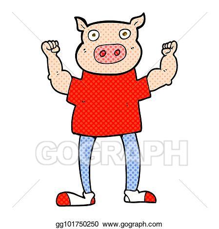 Clipart pig man. Vector illustration cartoon eps