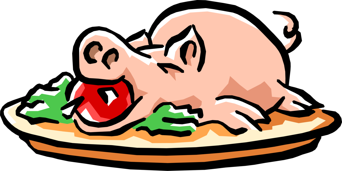 Clipart pig meal. Roast with apple in