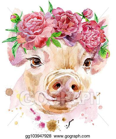 Clip art watercolor portrait. Clipart pig mini pig
