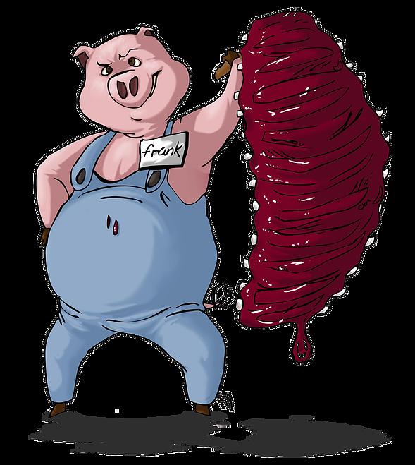 Pigs eatin ribs . Clipart pig muscular