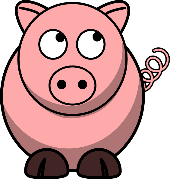 Pig Looking Up Left Clip Art at Clker