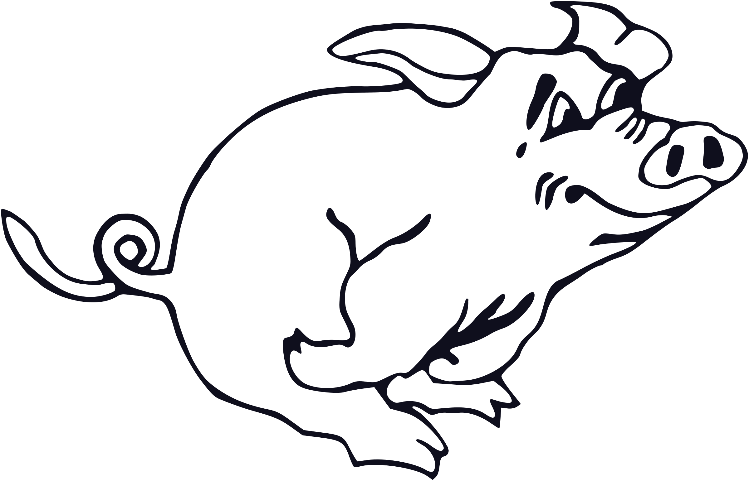 Running pig big image. Pigs clipart printable