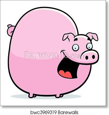 Fat art print poster. Clipart pig overweight