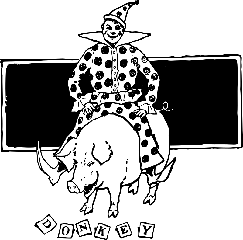 Clown on a medium. Clipart pig rectangle