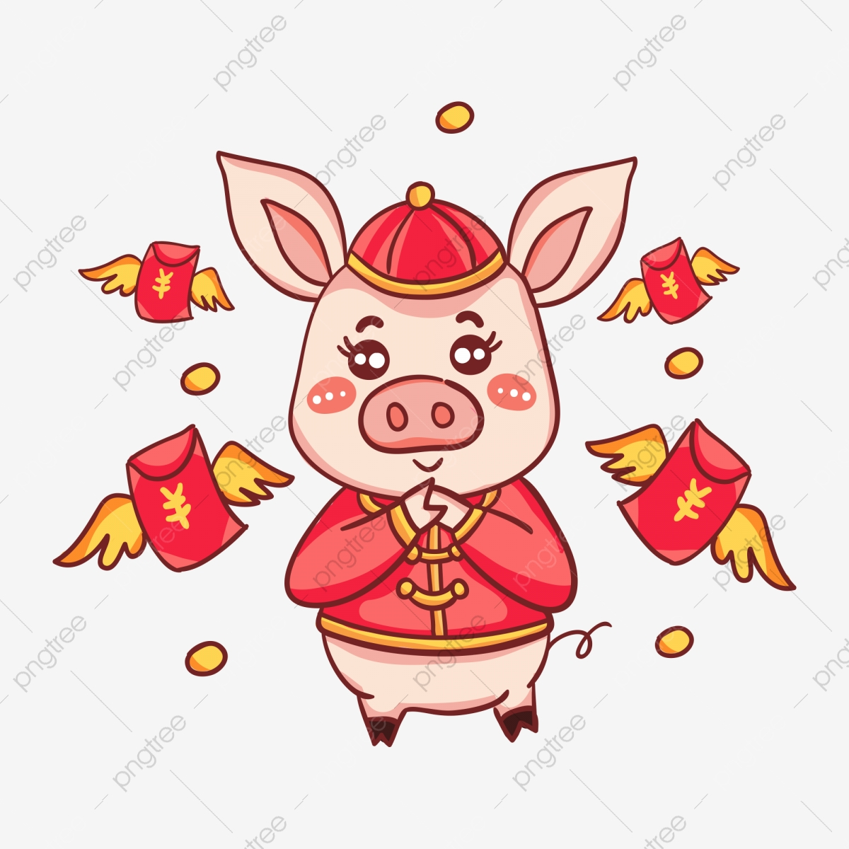 Hand drawn cartoon festival. Clipart pig spring